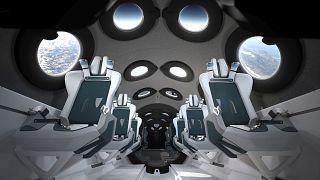 Cabine du SpaceShipTwo de Virgin Galactic, 28 juillet 2020