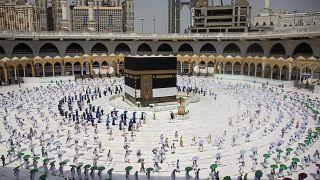 Pilger in Mekka zu Beginn der Wallfahrt Hadsch