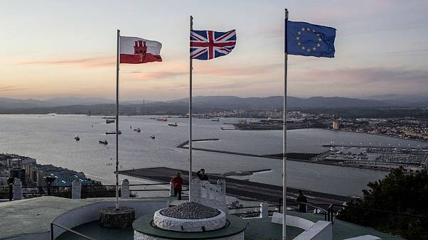 Gibraltar, British and EU flags on the upper rock at the British territory of Gibraltar