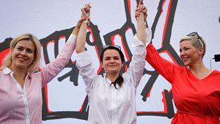 Maria Kolesnikova,  Svetlana Tikhanovskaya, and Veronika Tsepkalo
