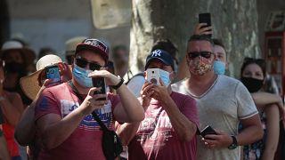 İspanya'da bir turist kafilesi