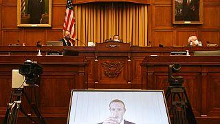 El fundador de la red social Facebook, Mark Zuckerberg, durante su comparecencia telemática