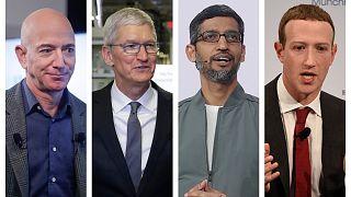 This combination of 2019-2020 photos shows Amazon CEO Jeff Bezos, Apple CEO Tim Cook, Google CEO Sundar Pichai and Facebook CEO Mark Zuckerberg.