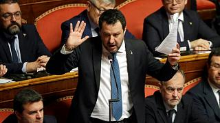 Matteo Salvini in the Italian Senate after it debated whether to allow him to be prosecuted for allegedly detaining migrants aboard a coast guard ship - Rome, Feb. 12, 2020.