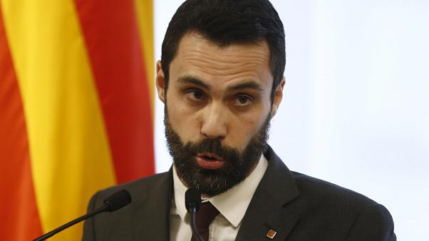 Roger Torrent attends a press conference at the Catalonia Parliament in Barcelona, March 2018