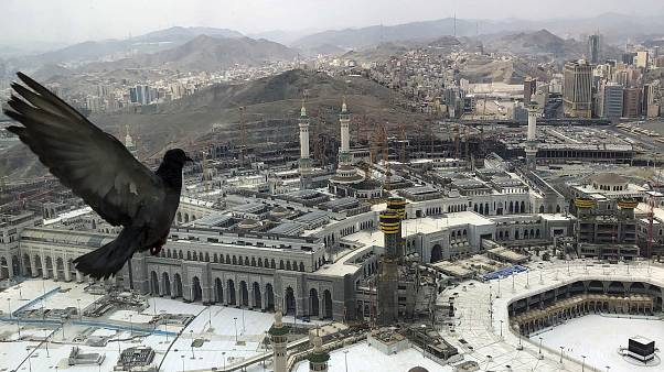 A pigeon flies over the site of the Grand Mosque that is empty due to the coronavirus prevention procedures, on the first day of the annual hajj