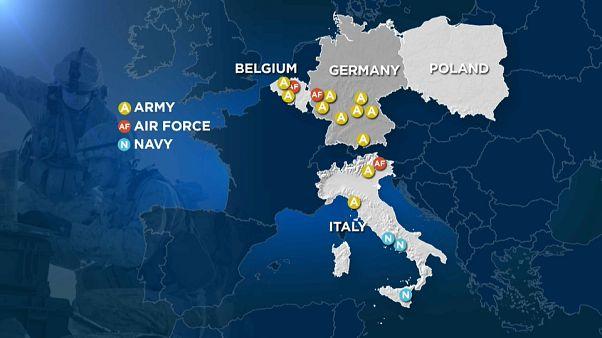 La mappa delle basi americane in parte dell'Europa.