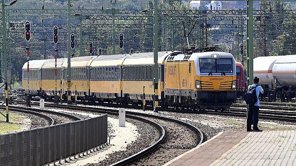 A RegioJet nyitójáratának érkezése a Kelenföldi pályaudvaron 2020. július 31-én.