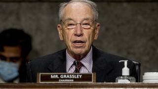 FILE - In this June 17, 2020, file photo, Sen. Chuck Grassley, R-Iowa, speaks during a Senate Finance Committee hearing on U.S. trade on Capitol Hill in Washington.