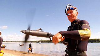 مسابقه شنا با «دوچرخه دریایی» در رود ولگای روسیه