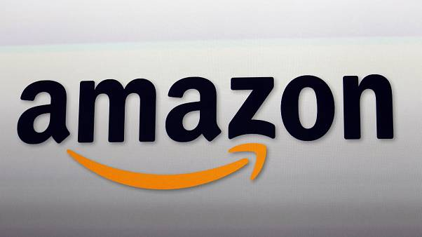 The Amazon logo in Santa Monica, Calif.