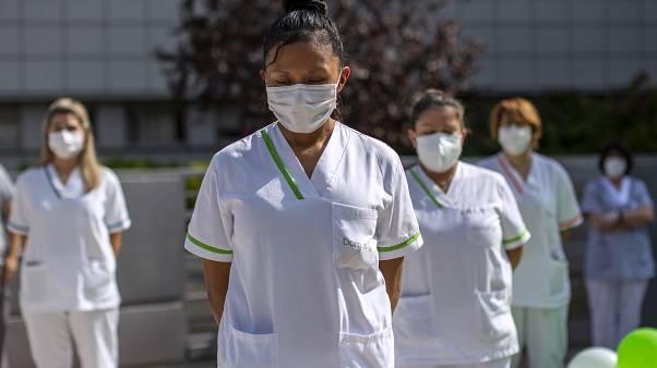 "Workers of a nursing home ""DomusVi Arturo Soria"" hold a minute of silence in support of the social and health sector and its workers in Madrid, Spain"