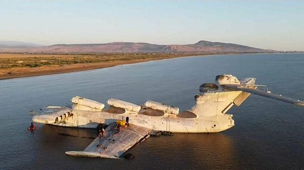 Ekranoplan im Kaspischen Meer