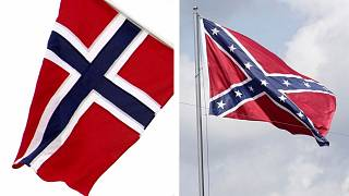 The Norwegian flag has the same colours as the Confederate flag, but the patterns and symbols are different.