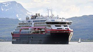 Hurtigruten's MS Roald Amundsen cruise ship in Tromsoe, northern Norway on July 3, 2019.