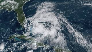 The tropical storm blew past the Bahamas on Saturday.