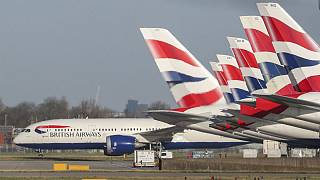 A view of British Airways planes parked at London's Heathrow Airport