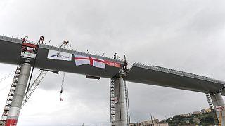 Le nouveau pont de Gênes, lors de la pause du dernier tronçon, le 28 avril 2020.
