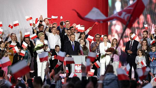 Incumbent President Andrzej Duda addresses supporters in Pultusk, Poland, Sunday, July 12, 2020.