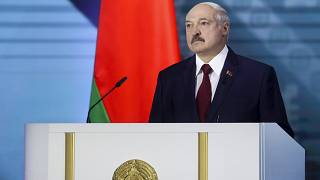 Belarus President Alexander Lukashenko delivers his speech during a state-of-the-nation address ahead of Sunday's election in Minsk, Belarus, Tuesday, Aug. 4, 2020