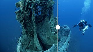 The HMS Perseus before and after clean up operation