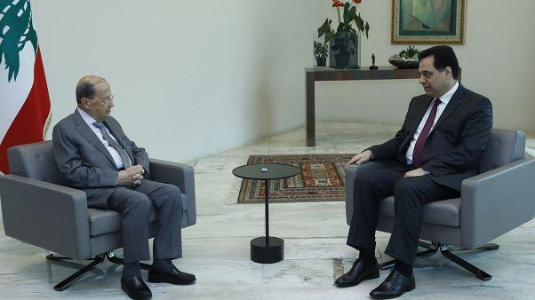 رئيس الجمهورية اللبناني ميشال عون ورئيس الحكومة حسان دياب