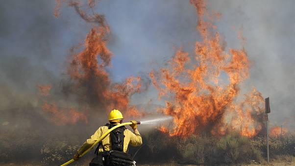 L'incendio a Santa Clarita. La lotta dei pompieri contro il fuoco.