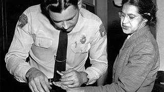 Feb. 22, 1956, file photo: Rosa Parks is fingerprinted by police Lt. D.H. Lackey in Montgomery, Ala.,