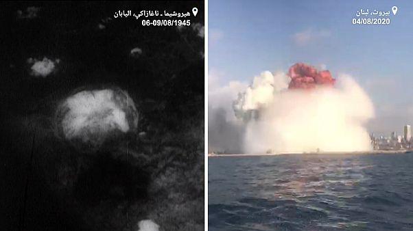 انفجار مرفأ بيروت (يمين) انفجار قنبلة ذرية في ناغازاكي باليابان