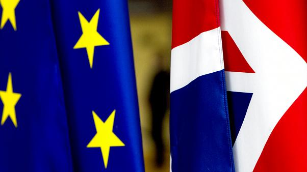 The UK flag, right, and the EU flag, left.