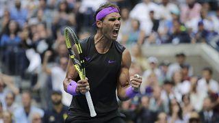 Rafael Nadal performing in US Open 2019