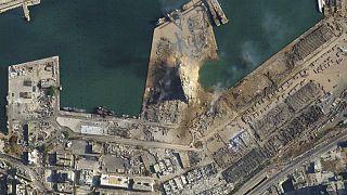 Der zerstörte Hafen von Beirut