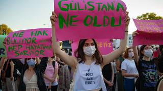 Thousands of women in Turkey took to the streets to demand that the government does not withdraw from a landmark treaty on preventing domestic violence.