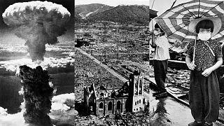 Un collage di immagini di Hiroshima e Nagasaki dopo lo scoppio delle bombe nucleari