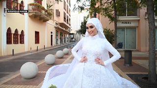 جلسة تصوير لحفل زفاف ببيروت توثق لحظات انفجار مرفأ بيروت