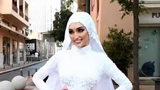 The bride whose video session was interrupted by Tuesday's chemical explosion in Beirut.