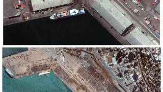 Top photo taken , on July 31, 2020, and the same area on Wednesday, Aug. 5, 2020,