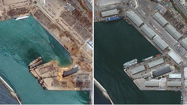 Comparable satellite imagery shows the scale of destruction