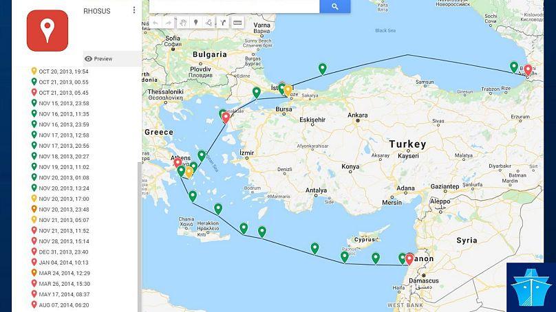 Google My Maps / Marine Traffic
