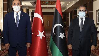 Dışişleri Bakanı Çavuşoğlu Libya Devlet Yüksek Konseyi Başkanı Halid el-Mişri (sağda) ile görüştü.