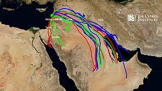 Nell foto, il modello cipriota che prevede lo spostamento delle masse d'aria dopo l'esplosione di Beirut