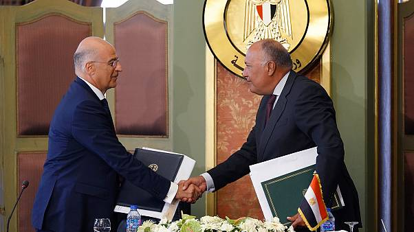 Οι υπουργοί Εξωτερικών Ελλάδας - Αιγύπτου Ν. Δένδιας και Σ. Σούκρι