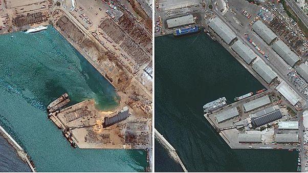 صور الأقمار الصناعية لمرفأ بيروت قبل وبعد الإنفجار حجم الدمار