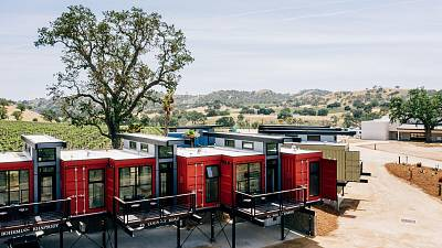 The shipping container hotel in Paso Robles, California US.