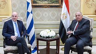وزير الخارجية المصري سامح شكري مع نظيره اليوناني نيكوس دندياس، 22 ديسمبر 2019