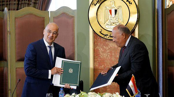 Φωτογραφία από την υπογραφή της Συμφωνίας Αιγύπτου - Ελλάδας