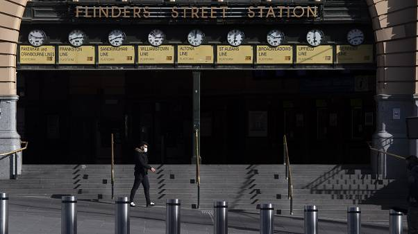 Flinders Street Station is quiet during lockdown due to the continuing spread of the coronavirus in Melbourne