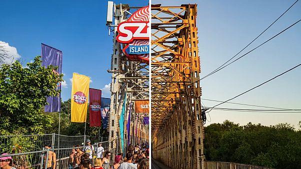 A Sziget bejárata, a híres K-híd a fesztivál ideje alatt és a napokban