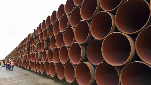 Steel pipes for the North Stream 2 pipeline stacked in Mukran harbour in Sassnitz, Germany.