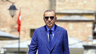 Cumhurbaşkanı Erdoğan, Ayasofya'da Cuma namazı çıkışında konuşuyor